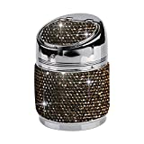 XLHZLY Cenicero de Coche, Cenicero de Cristal de Diamantes de imitación Cenicero de Coche Metal con ceniceros automáticos de Diamantes Regalos portátiles de Alta Clase, Gris