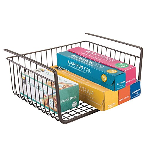 iDesign York Metal Under Shelf Storage Basket Storage Organizer for Kitchen, Bathroom, Office, Bronze