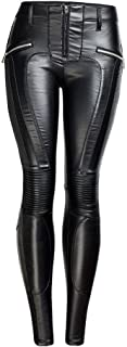 LUKEEXIN Women's Mid Rise Pu Leather Zipper Skinny Leggings Pants with Pockets