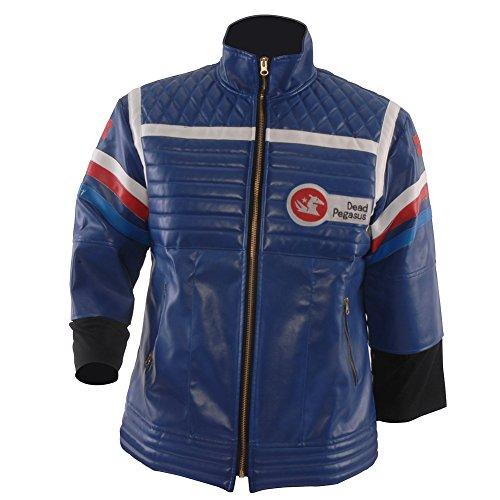 Allten Men's Costume Blue or Black Leather Punk Jacket Blue S