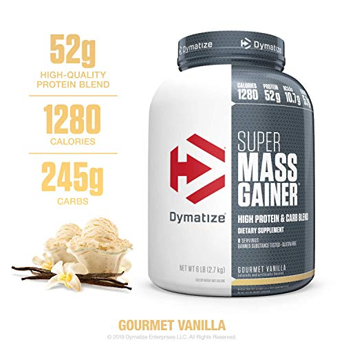 9. Dymatize Super Mass Gainer Protein Supplement with Digestive Enzymes, Gourmet Vanilla, 6 lbs