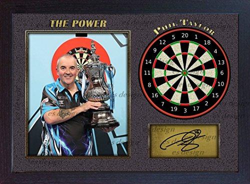 """S&E Desing Mit dem Autogramm von Phil Taylor """"The Power"""" versehenes Foto mit Dartscheibe, eingerahmt"""