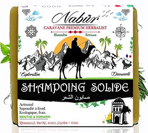 Galet Shampoing Solide bio | Nabür | 100 gr | Tout-cheveux |Rhassoul, Ricin, Beurre de karité, Jojoba - H.E Menthe & Romarin, 1001 Nuits