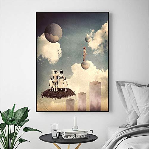 Puzzle 1000 Piezas Arte Psicodélico Collage Arte Surrealista Luna en Juguetes y Juegos Rompecabezas de Juguete de descompresión Intelectual Educativo Divertido Juego familiar50x75cm(20x30inch)