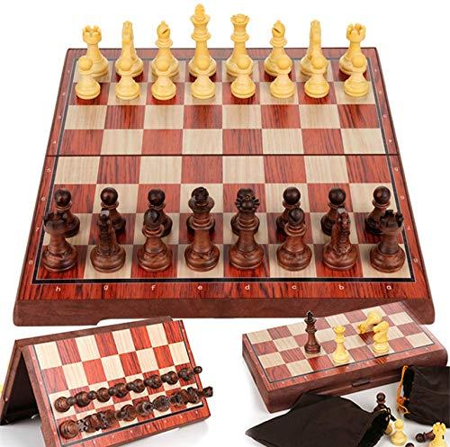 Cxcdxd Juego de ajedrez de Madera Hecho a Mano, Juego de Estrategia, Juegos Tradicionales magnéticos Plegables, Juego Familiar clásico para niños y Adultos