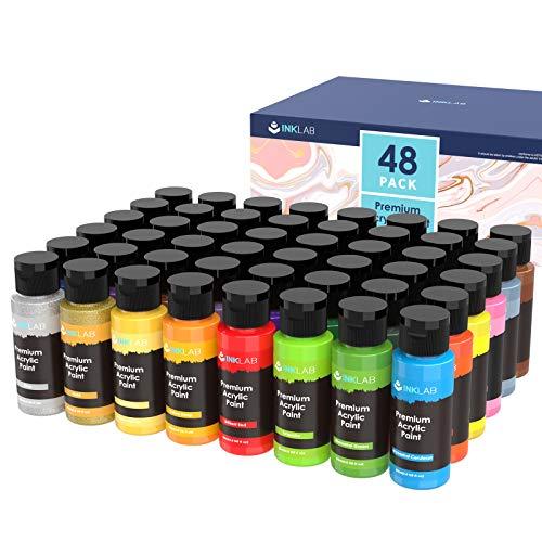 Set di Colori Acrilici 48 Colori Atossici Pittura Acrilica per Dipingere Ricchi di Pigmenti per Carta Tela Legno Ceramica Modello Artisti Studente