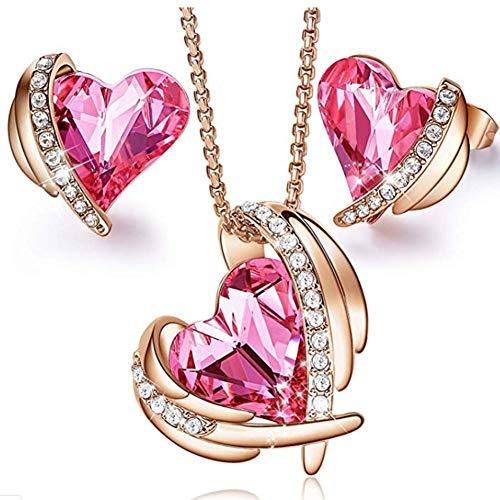 XINGYU Conjuntos de joyería para Mujer Collar Colgante Aretes Chapado en Oro Rosa 18 Quilates Ángel Corazón Diamante Cristal Swarovski Infinito Elegante Regalo para cumpleaños Boda