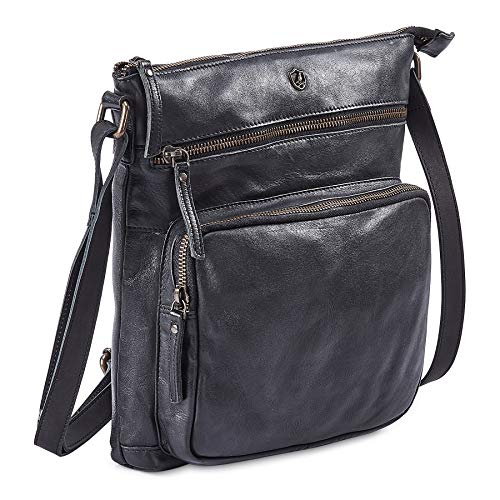 COCHOA Women's Crossbody Real Leather Triple Zip Bag, Purse, Travel Bag (Black)