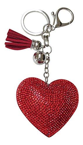 Bijoux de Sac, Porte-clés Coeur Strass Cristal Rouge Pompon.