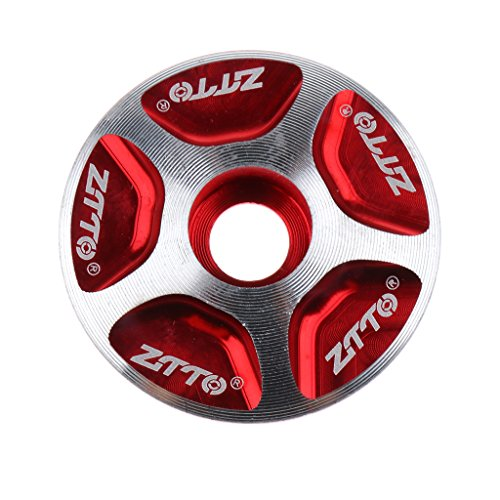 Sharplace Bicycle Headset 1 1/8' Threadless Alloy MTB Mountain Bike Stem Cover Top Cap,with Sealed Cartridge Bearings - Red