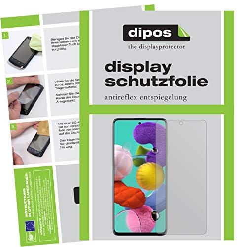 dipos I 5X Schutzfolie matt kompatibel mit Samsung Galaxy A51 Displayschutz-Folie (Kleiner als das Glas, da Dieses gewölbt ist)