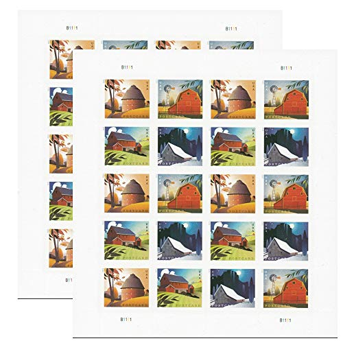 Barn Postcard Forever Postage Stamps 2 Sheets of 20 US Postal First Class American History Wedding Celebration Anniversary (40 Stamps)