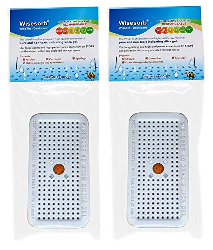 Wisesorb 40g Indicating Silica Gel Dehumidifier Desiccant Tin Canister, Wisetin Orange to Green Color Changing, SG-40 No Cobalt (II) Chloride-Reusable (Pack of 2)