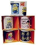 Minions Tazas de cerámica con Henkel Paquete de 5 con diseños de Agnes con su unicornio, los Minions, tazas de desayuno para leche, cacao o té, 320 ml por taza