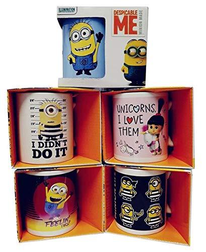 Minions Keramik-Tassen mit Henkel 5er Pack mit Motiven von Agnes mit ihrem Einhorn, den Minions, Frühstückstassen für Milch, Kakao oder Tee, 320ml pro Tasse