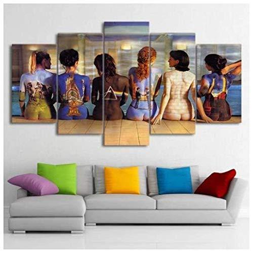 JINFAN Leinwandbild Bilder Wand Bild Drucke Auf Leinwand 5 Stück Leinwand Kunst Pink Floyd Wandkunst Mit Rahmen,150 * 80cm