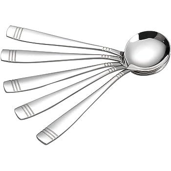 Obston 12 Piece Round Soup Spoon, Stainless Steel Bouillon Spoon