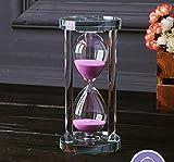 MINGZE Temporizador de Reloj de Arena de Cristal Transparente Reloj de Arena Artesanía decoración de Vidrio, 15 Minutos / 30 Minutos / 60 Minutos (Rosa, 15 Minutos)