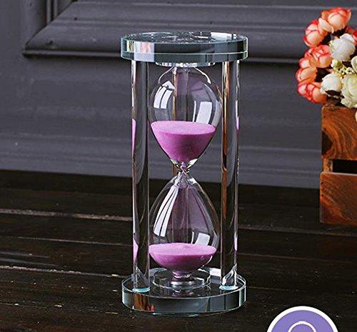 MINGZE Temporizador de reloj de arena de cristal transparente Reloj de arena Artesanía decoración de vidrio, 15 minutos / 30 minutos / 60 minutos (Rosa, 60 minutos)