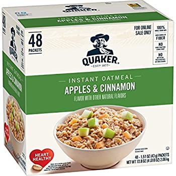 Quaker Instant Oatmeal Apples and Cinnamon Individual Packets  48 Count of 1.51 oz Packets  72.8 oz