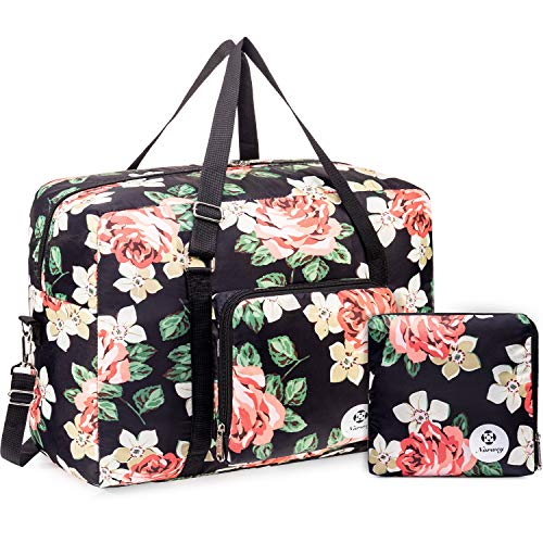 Packable Travel Duffel Bag Holdall Tote Carry on Luggage Weekender Overnight Sport Duffle for Kids Girls Women (Black Peony)