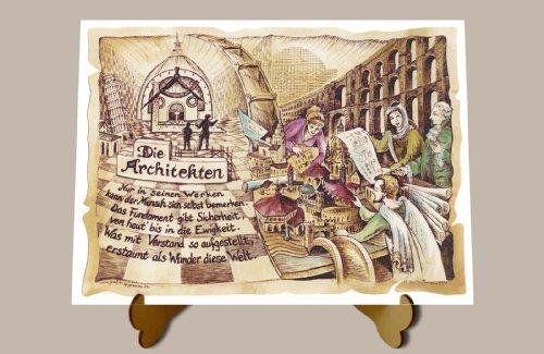 Die Staffelei Geschenk Karte Berufsbild Architekt Architekten Baumeister Zeichnung mit Gedicht, 20 x 15 cm mit Aufsteller