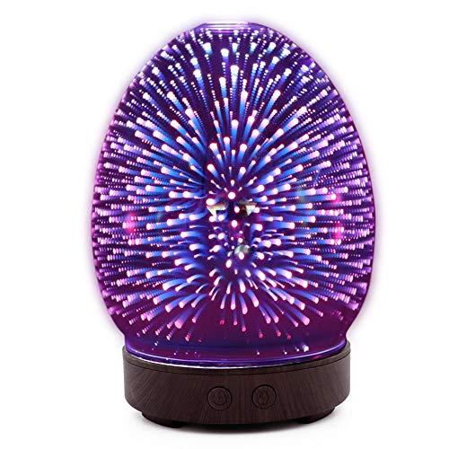 NZHK 3D Feuerwerk Glas Luft Befeuchter, Ätherisches Öl Aroma Diffuser Ultraschall Aromatherapie Mit Bunten Nachtlicht Für Home Office Yoga 100Ml,C