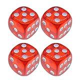 Toyandona - Set di 4 perline di dadi in acrilico a 6 facce, per imparare i dadi dei bambini che giocano ai dati.