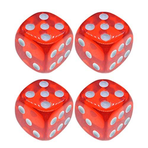 TOYANDONA - 4 perlas de dados de acrílico para los días de juego de 6 caras para aprender a los dados