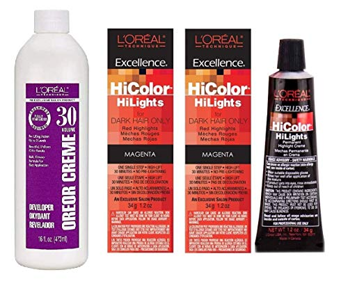 LOreal Hicolor Hilights for Dark Hair Only Magenta 2-Pack with 16 ounce Oreor Crème 30 Developer