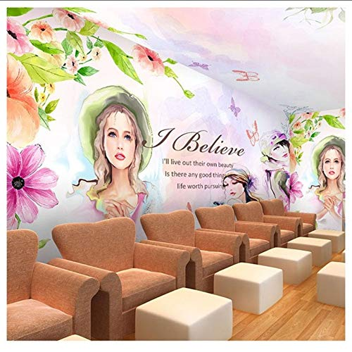 Hwhz Benutzerdefinierte Fototapete Nagelkosmetik Schönheitssalon Studio Wandmalerei 3D Menschen Mädchen Aquarell Tanzmusik Zimmer Tapete A-350X250Cm