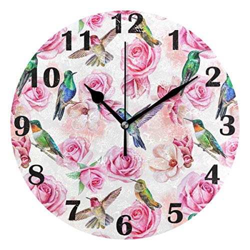 Jacque Dusk Reloj de Pared Moderno,Rosas Colibrí Flores,Grandes Decorativos Silencioso Reloj de Cuarzo de Redondo No-Ticking para Sala de Estar,25cm diámetro