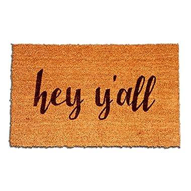 "Coir Fiber Laser Engraved Doormat 30"" x 18"" Hey Y'all"