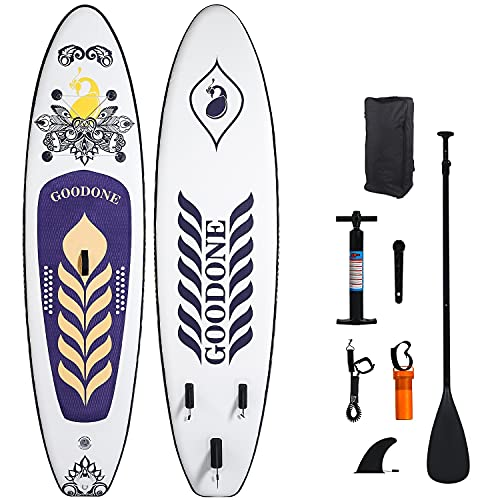 """GOODONE Inflatable Stand Up Paddle Board, Peacock Pattern Yoga Type SUP with Premium Accessories Including Carry Bag, Non-Slip Deck, Paddle, Hand Pump, Bottom Fin and Leash 10'6""""x31.5""""x6"""" (Peacock)"""