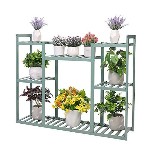 UNHO フラワースタンド 竹製 室内花台 おしゃれ 3段フラワーラック ベランダ ガーデニング棚 ガーデンラック プランタースタンド 大型植物棚 屋外 diy可能 観葉植物 飾る