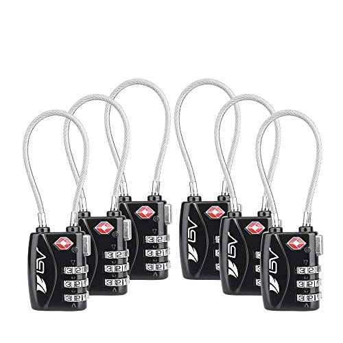 TSA Gepäck Reise Schloss 2Pack, 10000Zahlenschloss für Schule Gym locker, Gepäck Koffer Gepäck Schlösser, Aktenschränke, Werkzeugkoffer, Fall Black-6 Pack