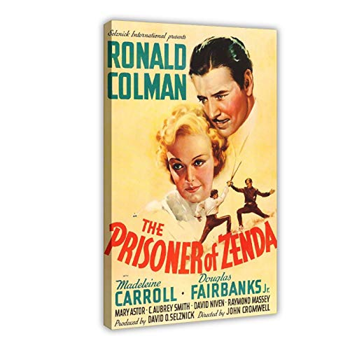 Poster in tela con film retrò The Prisoner of Zenda 1, decorazione da parete per soggiorno, camera da letto, cornice: 60 x 90 cm