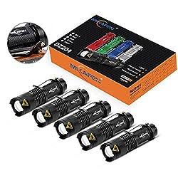 5 Pack Mini Flashlights LED Flashlight 300lm Adjustable Focus...
