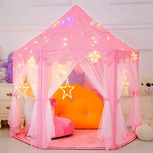 Oberhoffe Princess Tent,Children Playhouse Toys,Children Tent with Star Lights,Kids Play Tent,Princess Castle Play Tent ,Birthday Gift for Children Indoor & Outdoor Games(Pink)