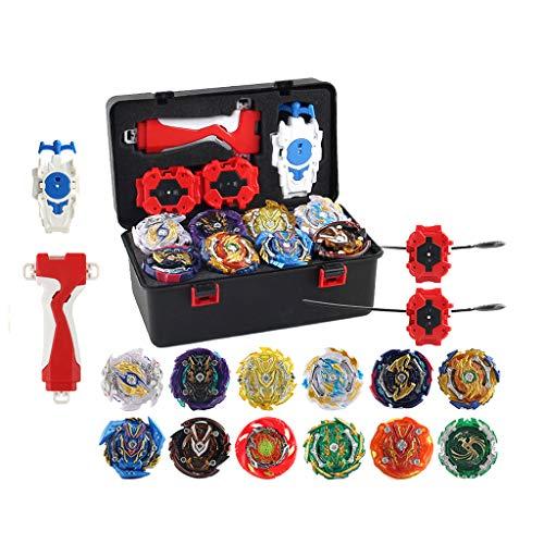 CUTICATE 12 Stück Kampfkreisel Set, 4D Fusion Modell Metall Masters Kreisel mit Launcher, Koffer und anderem Zubehör Kinderspielzeug - Schwarz