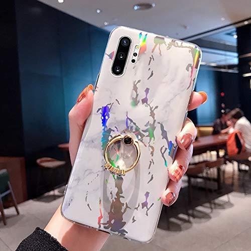 NSSTAR Compatible avec Samsung Galaxy Note 10 Plus Coque 3D Motif Marbre Coque Souple TPU Case avec Support Bling Glitter Diamant Strass Coque Silicone Ultra-Mince Antichoc Bumper Etui,Blanc