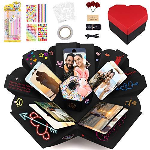 Caja Sorpresa de Corazón, Cajas Bonitas para Regalo Explosion box Caja Regalo Álbum Scrapbook, Regalo para Novios Novia para Día de San Valentín Día de la Madre Aniversario Cumpleaños
