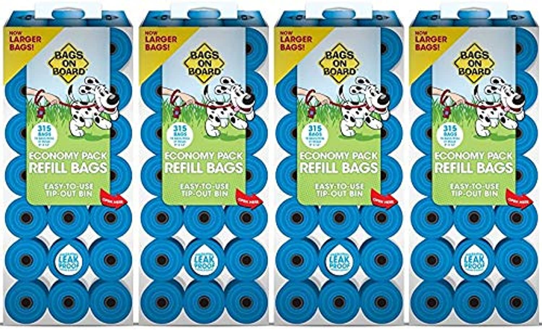 Bags on Board Dog Poop Bags, Assorted colors (4 Pack   1260 Total Bags)