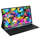 Portable Monitor -15.6 Inch Full HD1080p USB Type-C Monitor for Phones Laptop PC & Gaming Nintendo Switch PS3 PS4 MAC Xbox, IPS Eye Care Display Mini HDMI Screen Included Smart Protection Stand Case