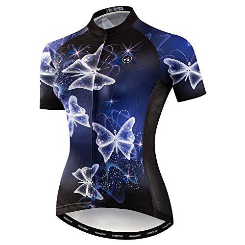 Weimostar Mountainbike-Jersey-Shirts der Radfahren Jersey-Frauen Kurze Hülse Straße Fahrrad-Kleidung Pro-Team MTB übersteigt Sommer-Kleidung Schmetterlings blau Größe S