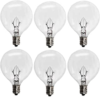 6 Pack Wax Warmer Bulbs,25 Watt Bulbs for Full Size Scentsy Warmers,G16.5 Globe E12 Incandescent Candelabra Base Clear Light Bulbs for Candle Wax Warmer,1.97 Inches,Long Last Lifespan