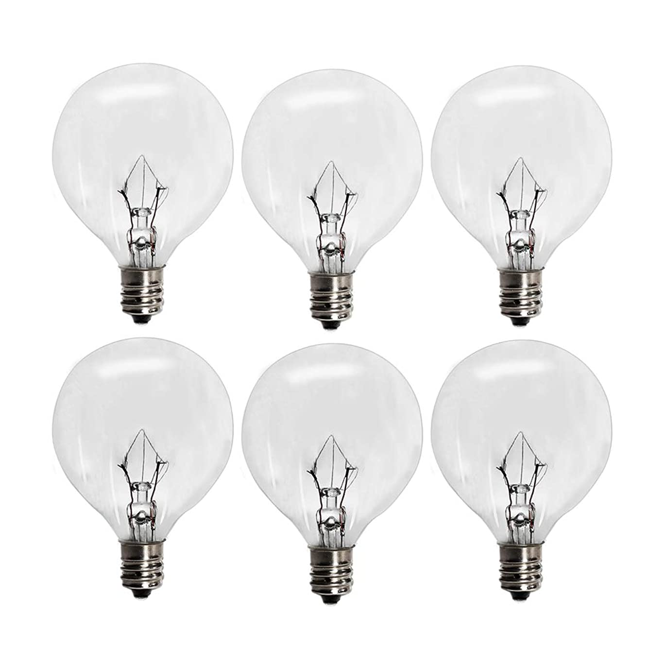 6 Pack Wax Warmer Bulbs,25 Watt Bulbs for Full-Size Scentsy Warmers,G16.5 Globe E12 Incandescent Candelabra Base Clear Light Bulbs for Candle Wax Warmer,1.97-Inch,Long Last Lifespan