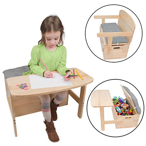 Wooden Desk and Chair Set w/Toy Box Storage - Converts to Bench - Includes Blue...