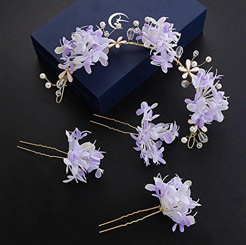 &Kroon bloem hoofdtooi Koreaanse bruid hoofd bloem Sen vrouwelijke hand bloem Hoofdtooi Bruidsjurk trouwjurk Jurk accessoires bloem krans kroon (Kleur: Paars)