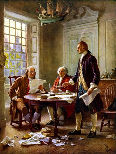 Posterazzi Digitally restored vector painting of Benjamin Franklin John Adams and Thomas Jefferson writing the Declaration of Independence. Poster Print, (12 x 16)